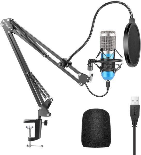 Bộ micrô USB Neewer 192kHz/24bit máy tính cắm và chạy micrô cardioid podcast condenser micrô với Chipset âm thanh chuyên nghiệp cho PC/Youtube/Gaming record, ARM Stand/Shock Mount (Màu Xanh)