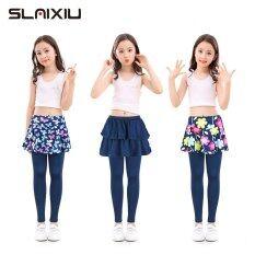 SLAIXIU Cotton Váy Culotte Render Quần Cho Trẻ Em Hoa In Hoa Trẻ Em Cô Gái Xà Cạp Với Đàn Hồi Quần Bút Chì Quần