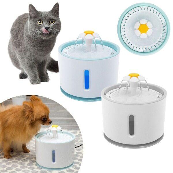 Trung Chuyển Vật Nuôi, Đài Phun Nước Điện Tự Động LED 2,4 L Bằng Nhựa Bộ Lọc Chống Bắn Cho Chó Mèo Bộ Lọc Uống Nước Không Tiếng Ồn
