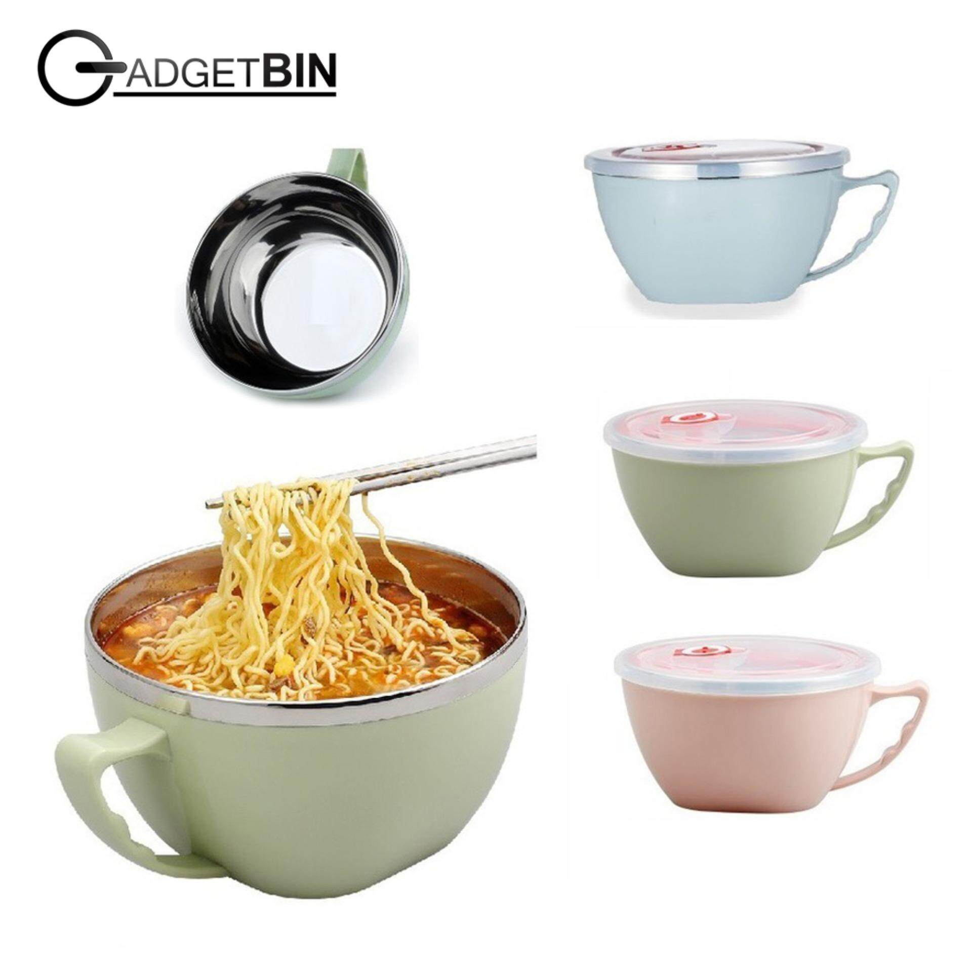 Korean Style Multipurpose Instant Noodle Stainless Steel Bowl With Seal 900ml By Gadgetbin.