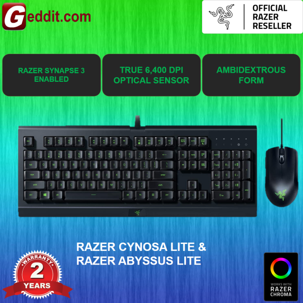 ( BUNDLED ) RAZER CYNOSA LITE & RAZER  ABYSSUS LITE GAMING KEYBOARD AND MOUSE (RZ84-02740100-B3M1) Malaysia