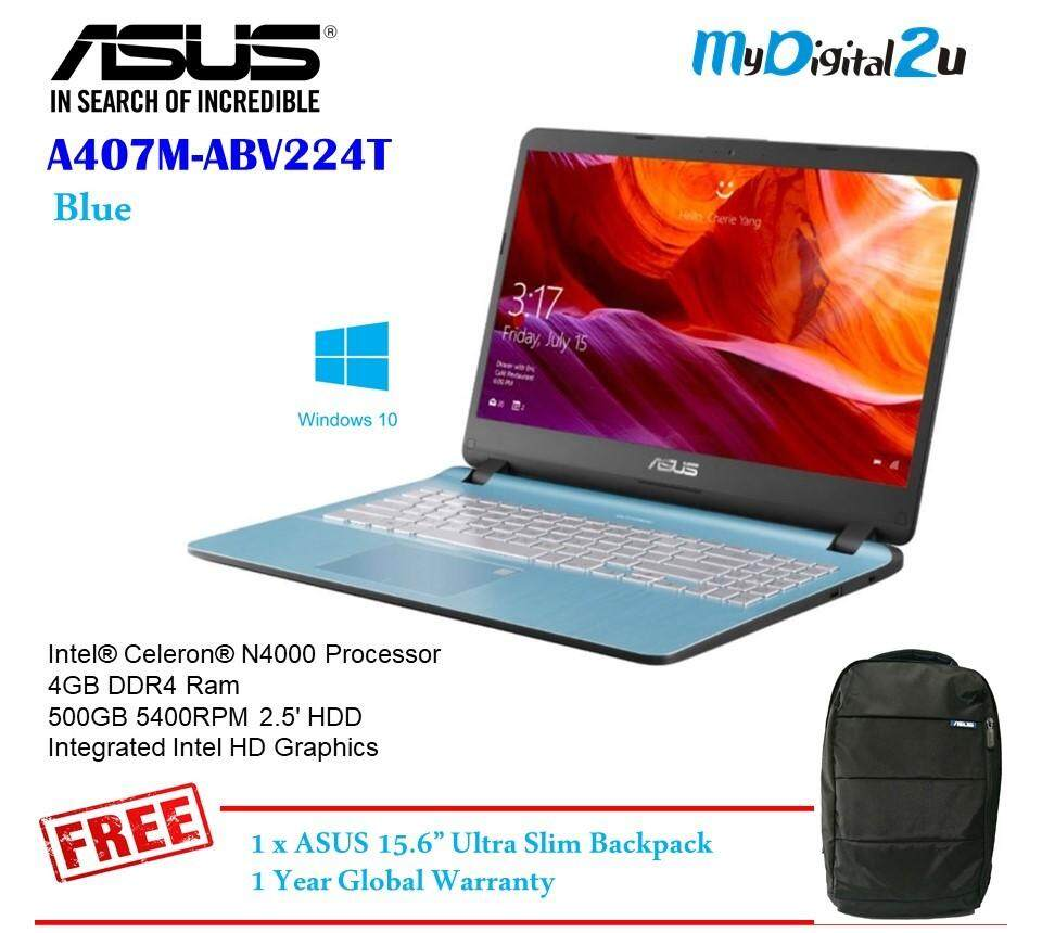 ASUS A407M-ABV223T/ABV224T (ROSE GOLD/BLUE) Notebook (N4000/4G/500GB/14/WIN10/1YR) Free Backpack Malaysia