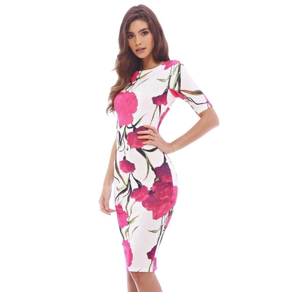 f9a6d9c7bfbcc Women Short Sleeve Flowers Printed Bodycon Mini Dress Lady Floral Summer  Dress
