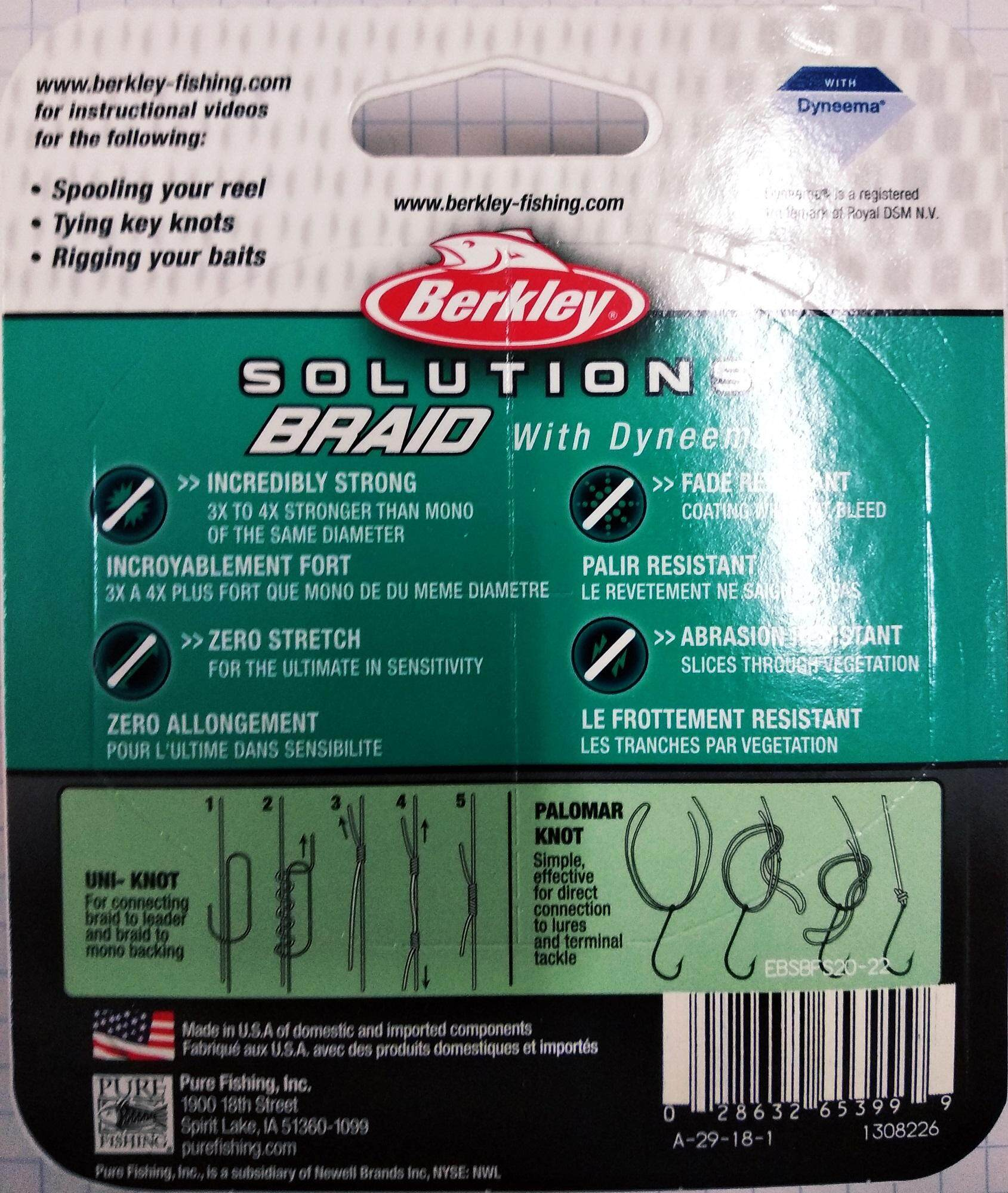 Berkley Solution Braid With Dyneema Low - Vis Green 125 meters (Various  Size)
