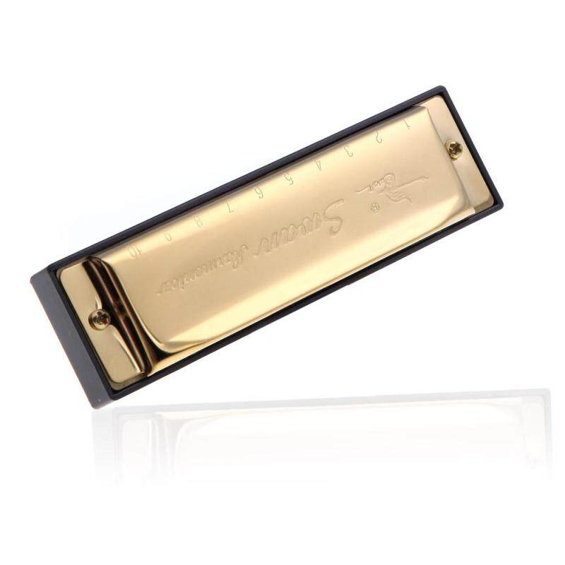 Swan Diatonic Harmonica 10 Holes Blues Harp Mouth Organ Key of G Reed Instrument with Case Golden Malaysia