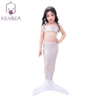 Xenbecái bộ 2 Món Đồ Bơi Nàng Tiên Cá Cho Bé Gái, Đồ Bơi Đuôi Nàng Tiên Cá Cho Trẻ Sơ Sinh Trẻ Em, Trang Phục Nàng Tiên Cá Đồ Bơi Bikini thumbnail