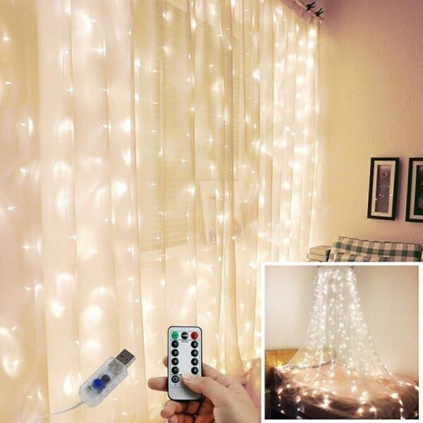 Bảng giá Đèn Rèm LED 3M X 1M/3M X 2M 100/200 Trang Trí Đám Cưới Giáng Sinh Lãng Mạn, Đèn Dây Ngoài Trời Đèn USB Điều Khiển Từ Xa