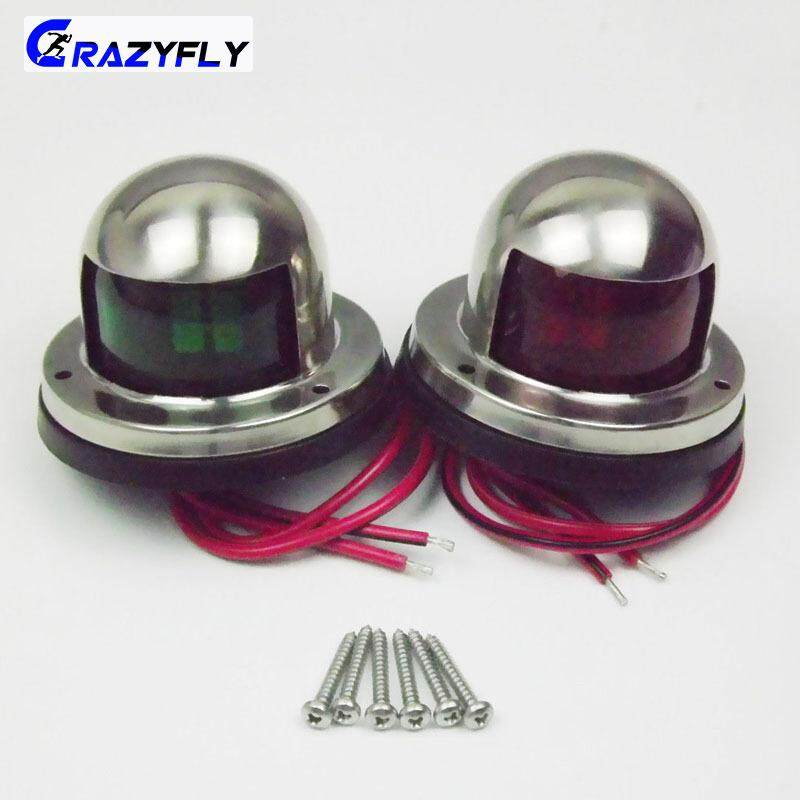 Crazyfly 1 Pair Practical Lights Marine Boat Yacht Pontoon 12v Stainless Steel Led Bow Navigation Lights By Crazyfly.