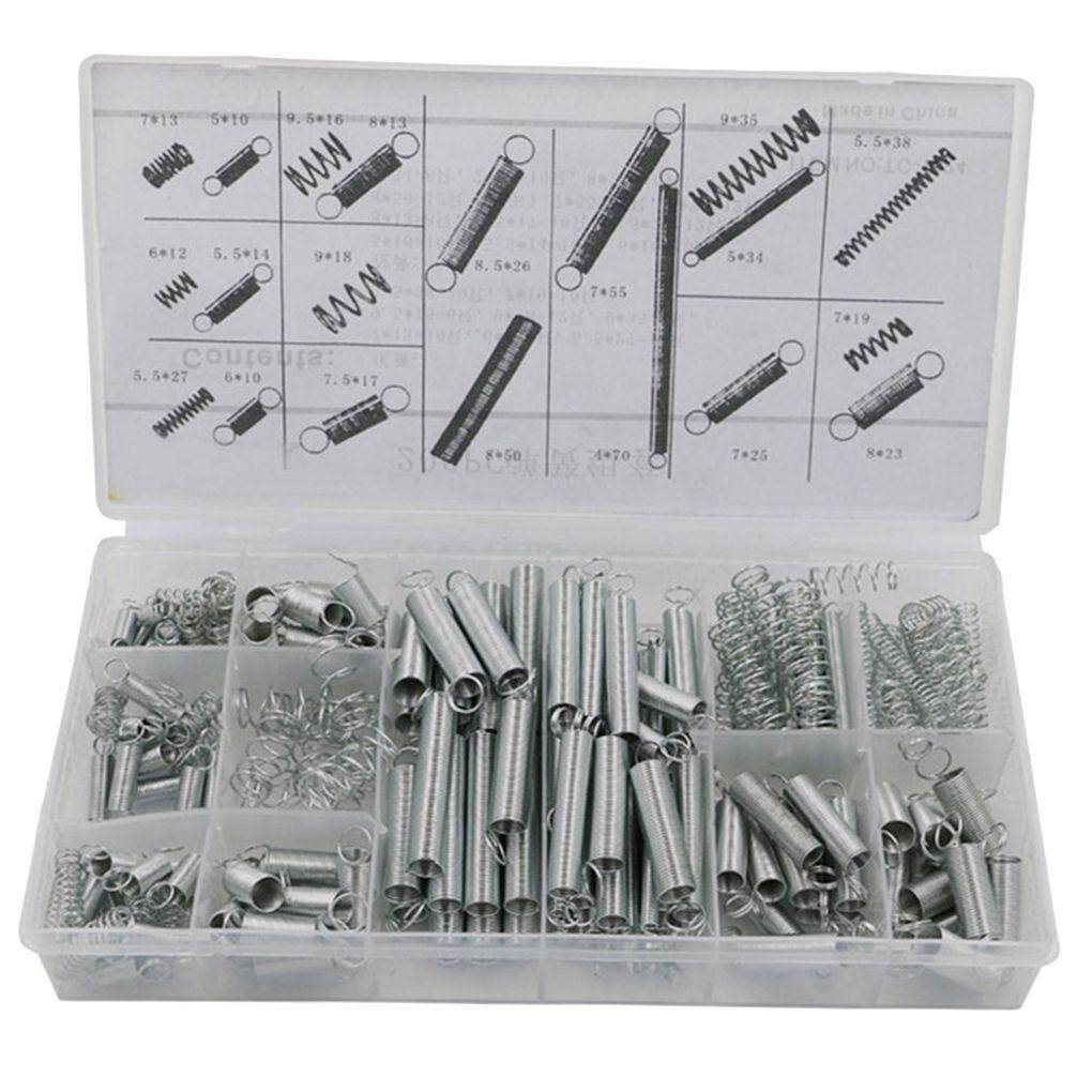 200Pcs Steel Spring Electrical Hardware Drum Extension Tension Springs Pressure Suit Metal Assortment Hardware Kit