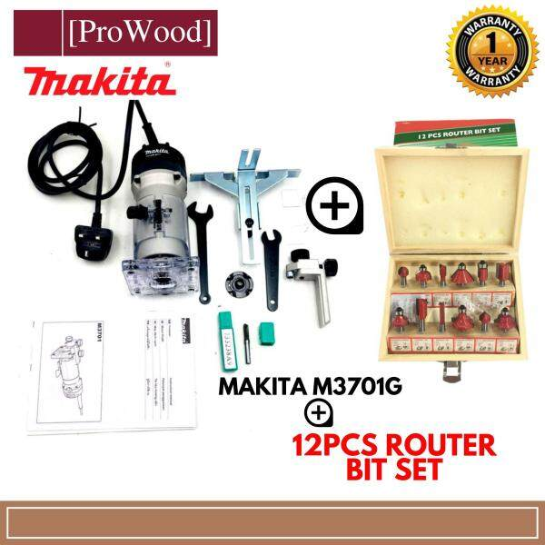 MAKITA M3701G 1/4 6mm Mini Wood Router Trimmer Aluminium Casing + 12Pcs Router Bit Set (random color)