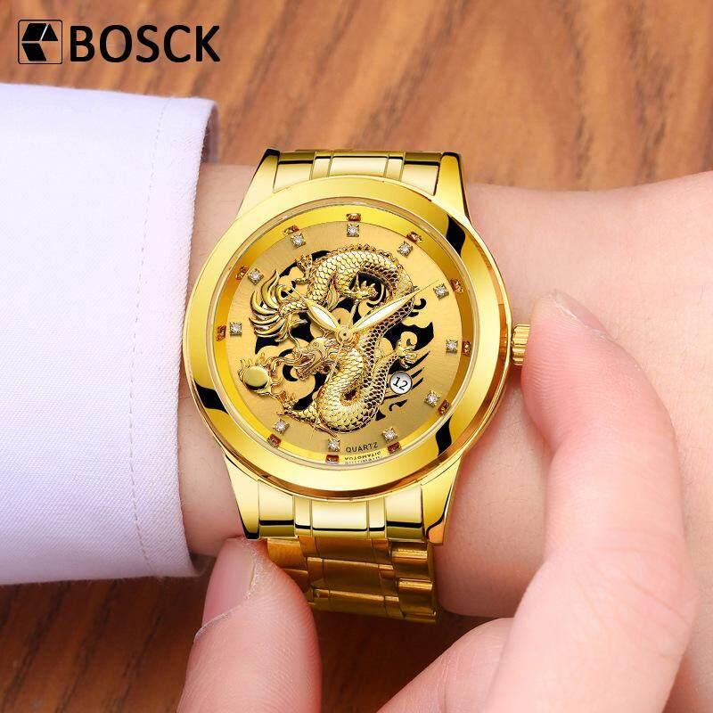 BOSCK Brand Mens Waterproof Luxury Diamond Gold Calendar Mens Quartz Watch Malaysia