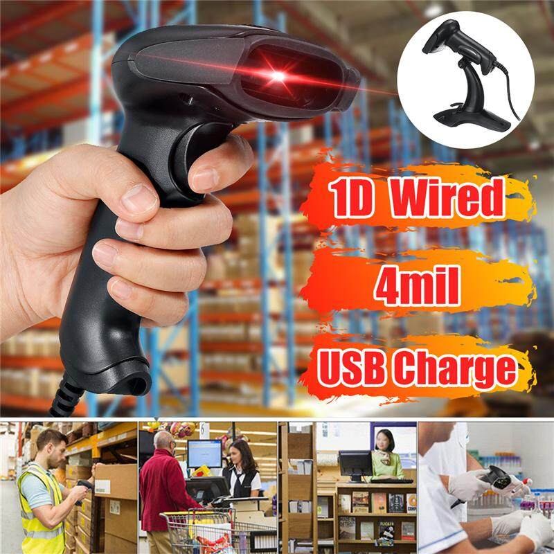 Portable 1D Barcode Scanner Automatic Bar Code Handheld USB Reader Laser Wired Scan POS With Scanning Bracket For Supermarket