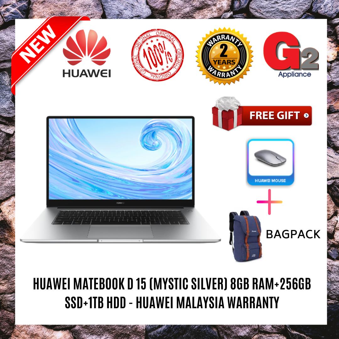 HUAWEI MateBook D 15 (8GB RAM+256GB SSD+1TB HDD)  (Mystic Silver) - Huawei Malaysia Warranty Malaysia