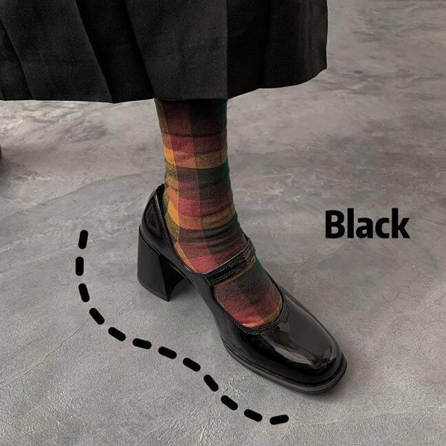 Giày Cao Gót Mary Jane Sô Cô La Da Sơn Mài Mùa Xuân 2021 Đầu Vuông Kiểu Pháp Hoài Cổ Với Gót Dày Và Một Đôi Giày Cô Gái giá rẻ