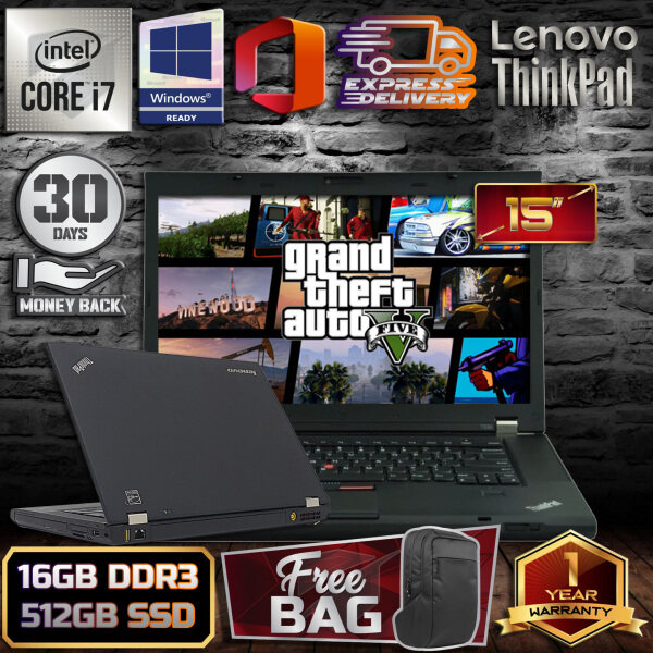 LENOVO THINKPAD T530 15 INCH - INTEL CORE I7 / 16GB DDR3 RAM / 512GB SSD STORAGE / 15 INCH / WINDOW 10 PRO / 1 YEAR WARRANTY [ FREE GIFT + 30 DAYS MONEY BACK GUARANTEE ] Malaysia