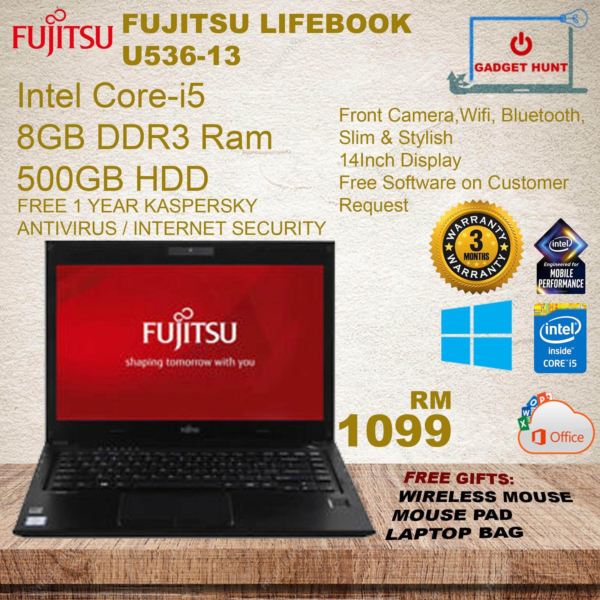Fujitsu Lifebook U536 / Intel Core I5-6200U @ 2.3GHz / 8GB RAM DDR4 / 500GB HDD / WIN10 Pro / 3Months Warranty Malaysia