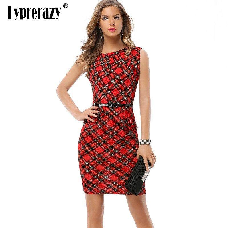 99fae7641a4ab Lyprerazy Vintage Contrast Patchwork Wear to Work Slim vestidos Bodycon  Office Business Sheath Striped Grid Women Red Dress