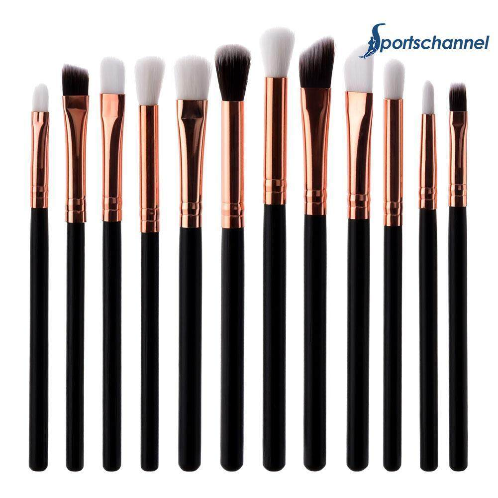 12pcs/set Flat Eyeshadow Lip Makeup Brushes Kit Eyebrow Brush Cosmetic Tool Set