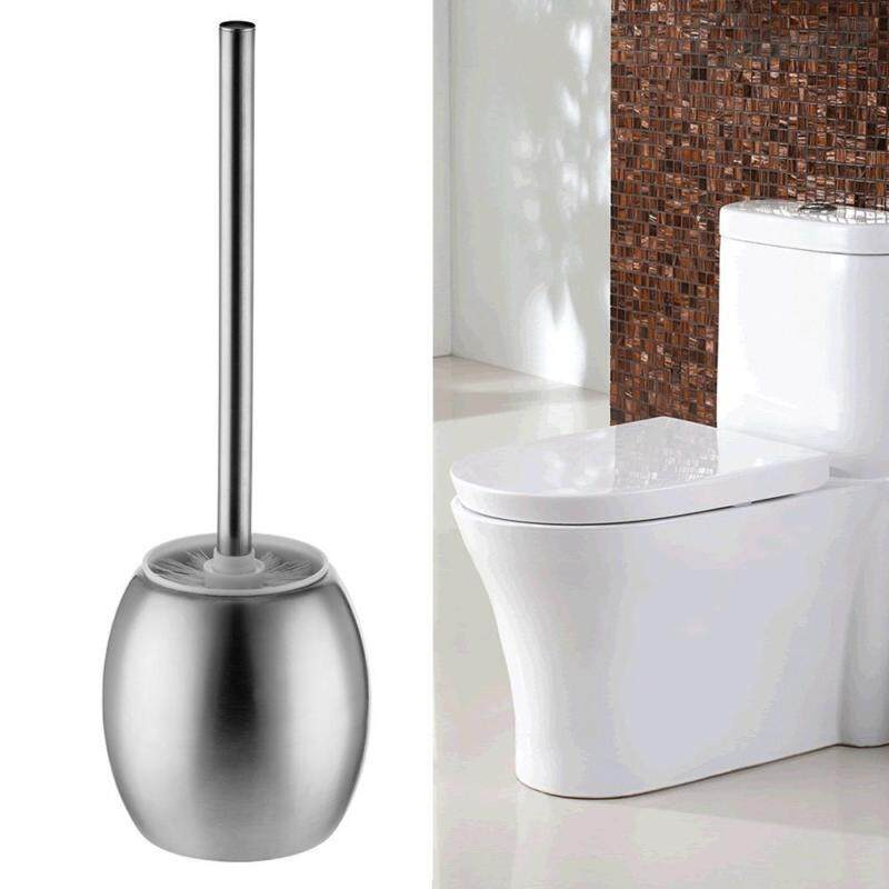 Stainless Steel Bathroom Toilet Brush & Round Holder Standing Cleaning Set By Happynews.
