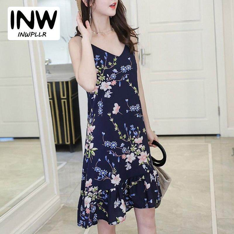 be15a58713 INWPLLR 2018 Women's Fashion Dresses Chiffon Floral Dress Summer Style  Casual Sleeveless Dresses Printed Strap Dress