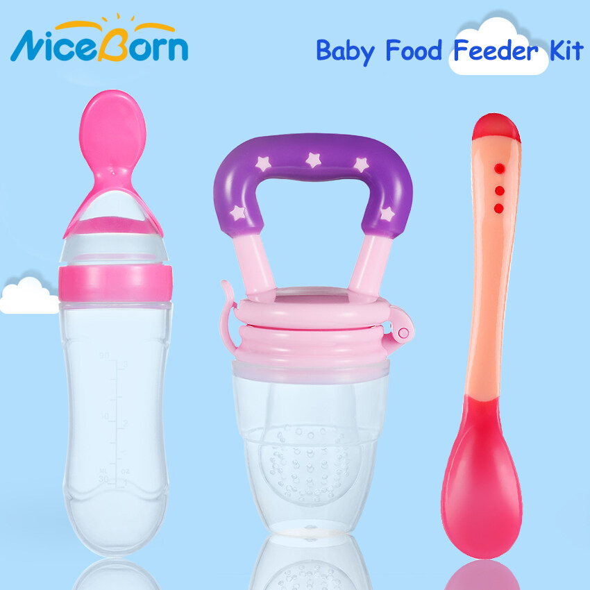 NiceBorn 3PCS Baby Food Feeder Kit Squeeze Feeding Bottle with Spoon Baby Bite Pacifier Temperature Spoon Fruit Vegetable Feeder Squeezing...