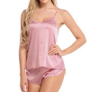 Phụ Nữ Sexy Ice Silk Đồ Lót Đồ Ngủ Pasta Dây Đeo Vest + Quần Short Bộ Đồ Ngủ thumbnail