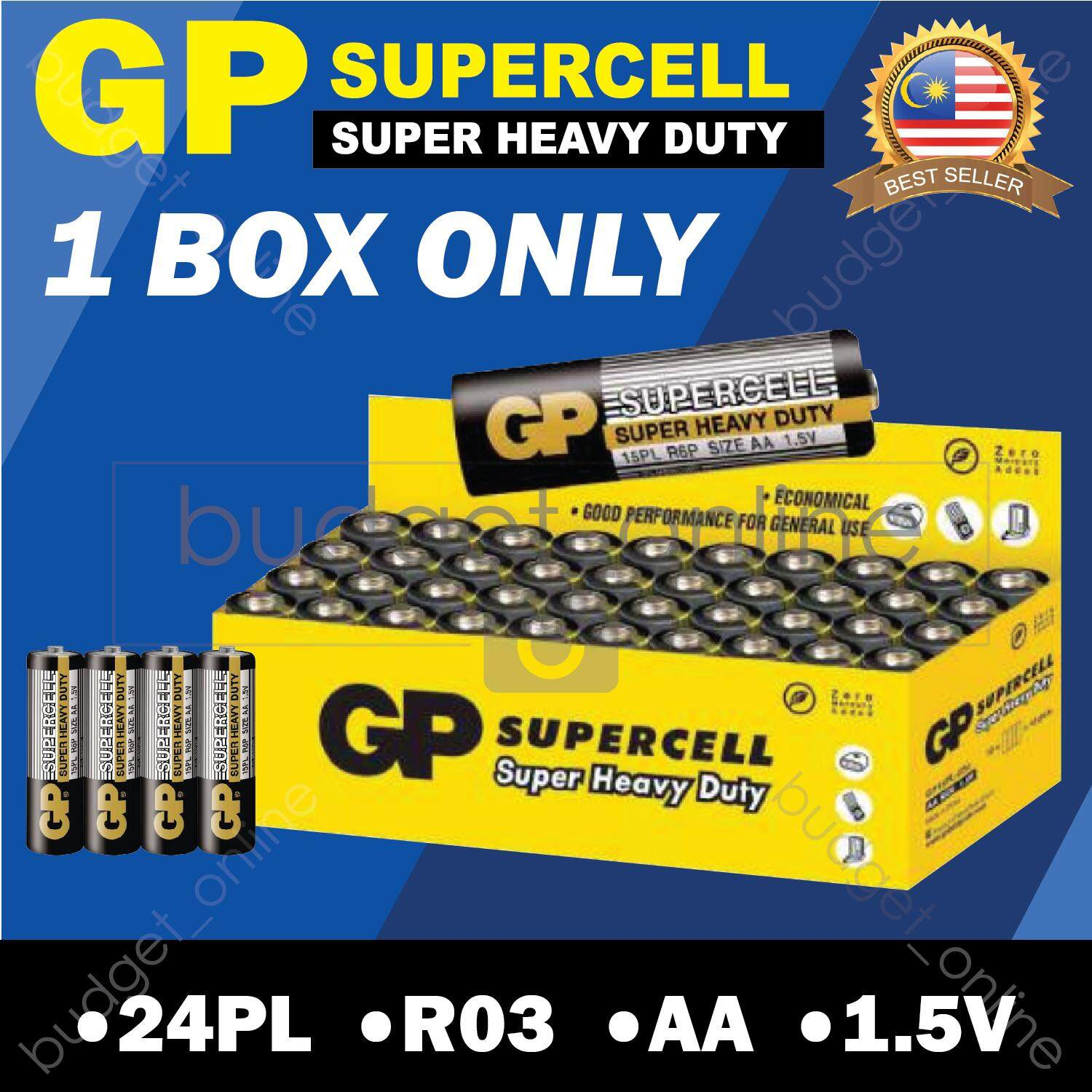 GP SUPERCELL Super Heavy Duty AA 1.5V Battery Batteries 1 BOX ONLY