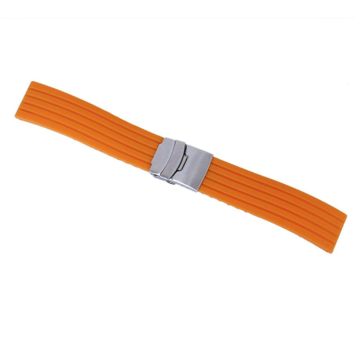 Orange Silicone Rubber Watch Strap Band Deployment Buckle Waterproof 20mm Malaysia