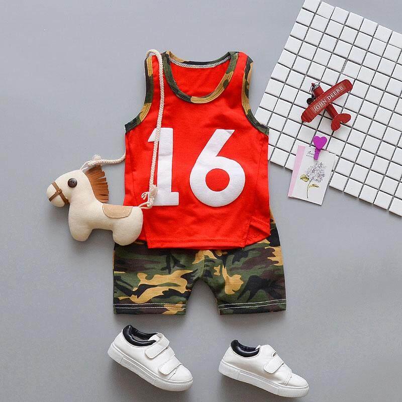 Summer Baby Boy Sleeveless Letter Print Vest T-shirt Camouflage Shorts 2  Pcs/set Children Outfits