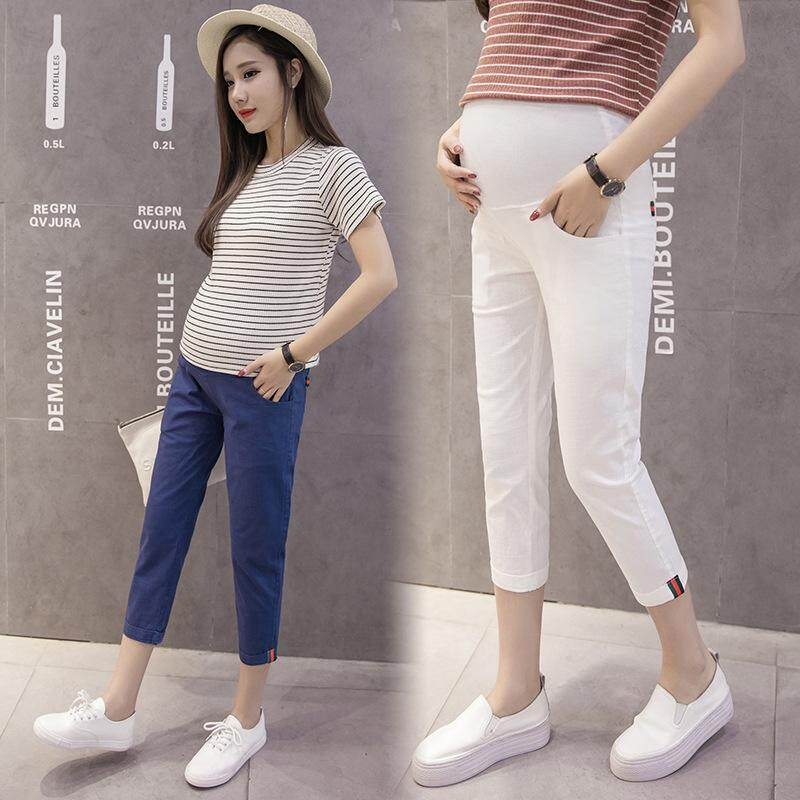 a738fc7152382 Summer Cotton Linen Maternity Legging Elastic Waist Belly Skinny Clothes  for Pregnant Women Pregnancy Pants Cropped Trousers | Lazada