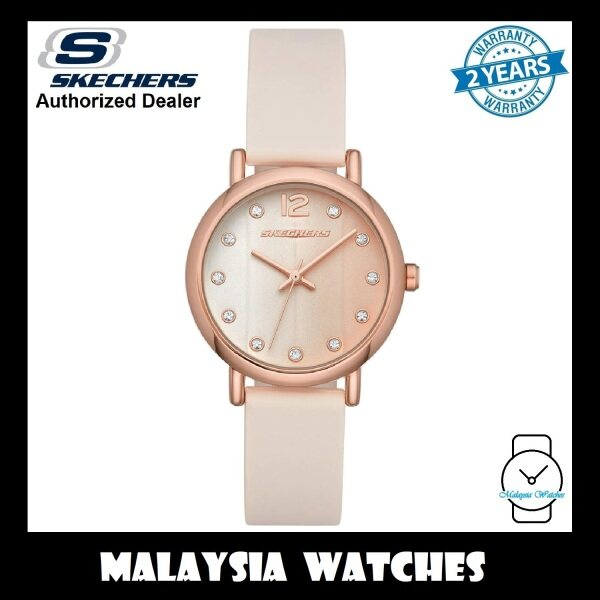 (OFFICIAL WARRANTY) Skechers SR6192 Womens Alondra Quartz Rose Gold-Tone Case Blush Pink Silicone Strap Watch (2 Years Warranty) Malaysia