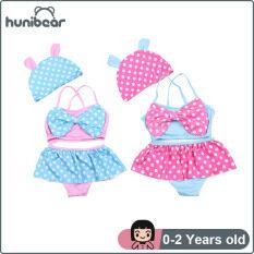 [Teeker] Đồ Bơi Trẻ Em Váy Ba Mảnh Chấm Bi Dễ Thương Cho Bé Gái Quần Lót Đồ Bơi Trẻ Em Mũ Bơi 0-2 Năm