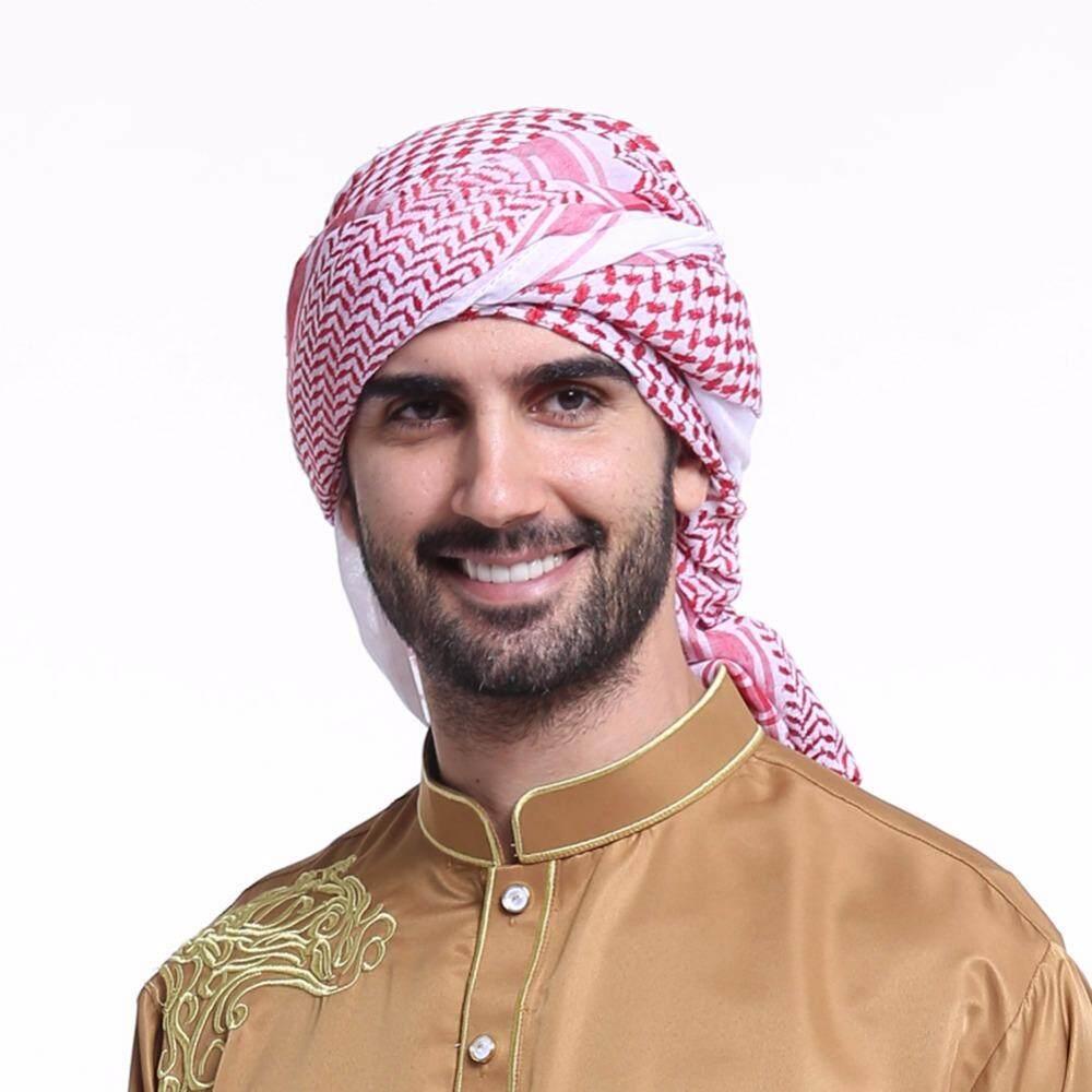 ศาสนาอิสลามเวลาชาย Turban อาหรับ Bonnet ผ้าพันคอ Musulamne ที่รัดศีรษะอาหรับเสื้อผ้าผู้ชาย Headdress ซาอุดีอาระเบีย Hijabs By Moloke Maii.