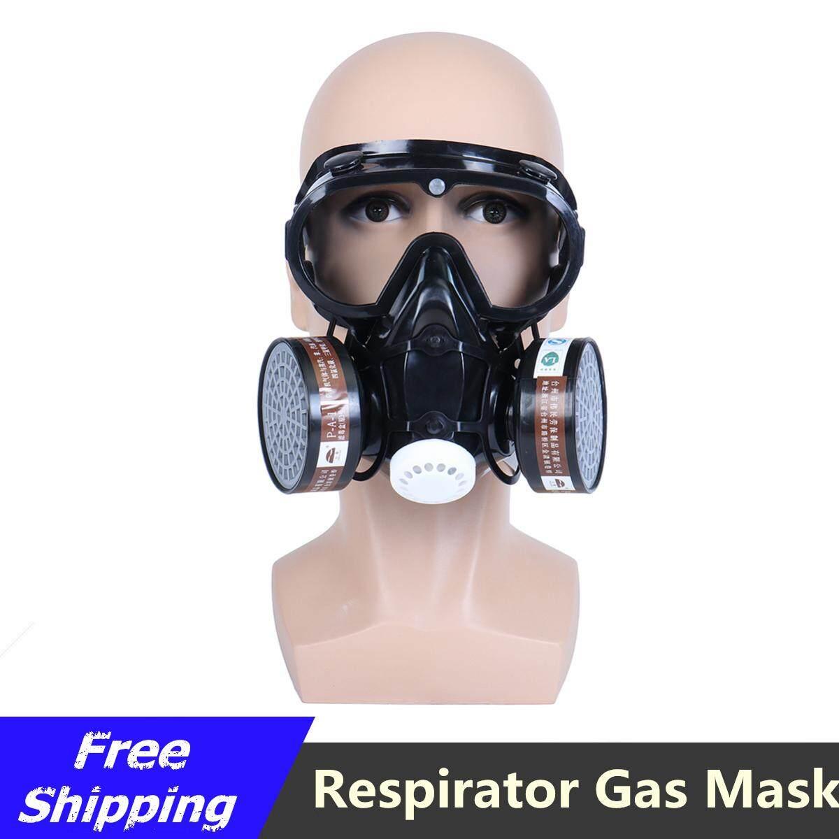 【free Pengiriman + Super Deal + Terbatas Offer】respirator Masker Gas Safety Kimia Anti Penyaring Debu Militer Kacamata Set By Freebang.