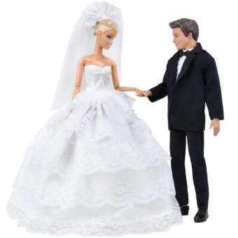 เจ้าหญิงบาร์บี้ตุ๊กตาสีขาวห้าชั้นลูกไม้ชุดแต่งงานและเจ้าชายเคนตุ๊กตาชุดสูท - INTL-