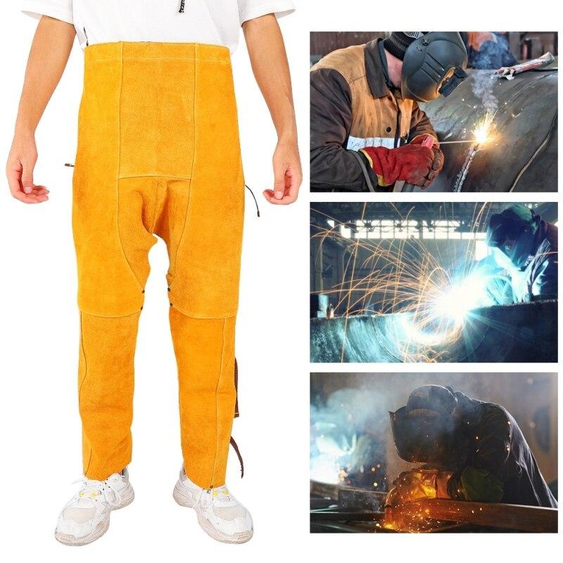 Heat-resistant Welded Adjustable Cattlehide Safety Wear-resistant Knee Leg Protector Pants