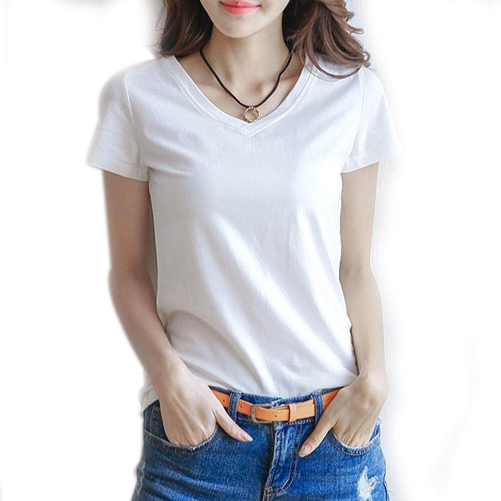 3e38a0539a778b 2019 new simple pure color Short sleeve T-shirt Female Slim Round Neck T  Shirt