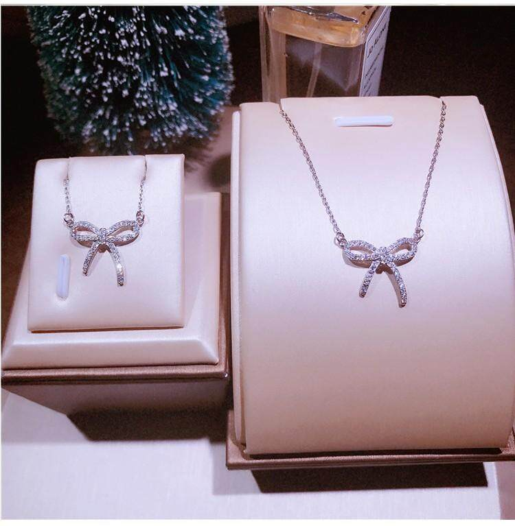b1c9272bb Galaxy 925 sterling silver my first half Sang Zhuo Dong with bow necklace  silver jewelry original