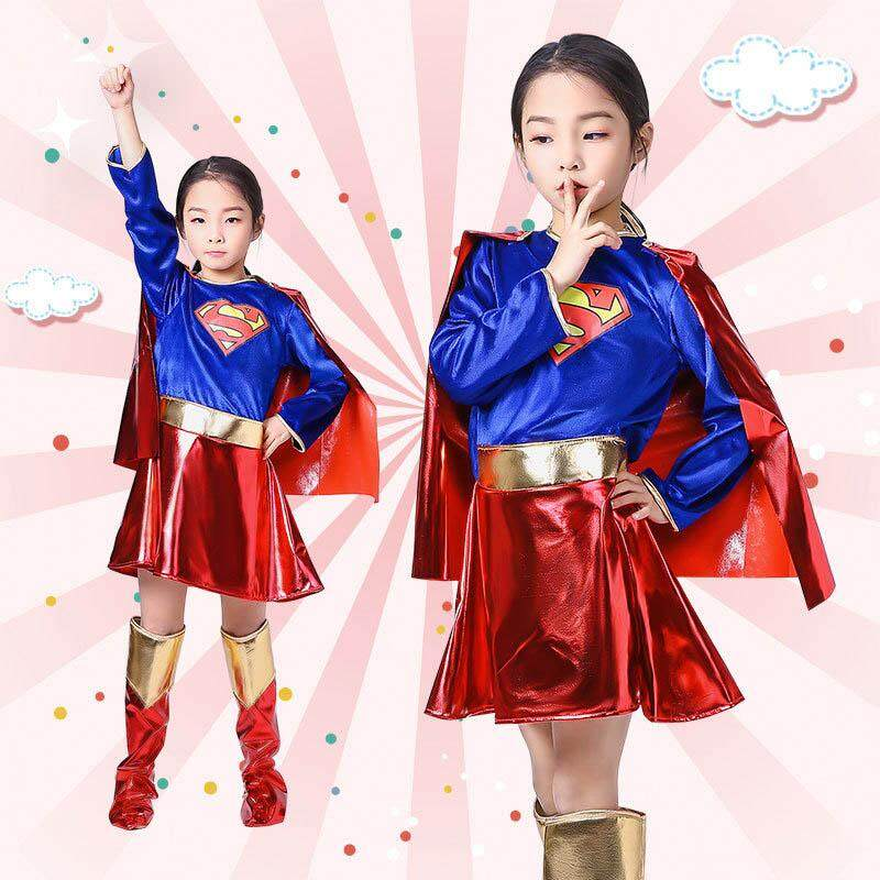Superhero Cosplay Costume for Girls Deluxe Child Superwoman Costume Halloween Costume for Kids Party Dress