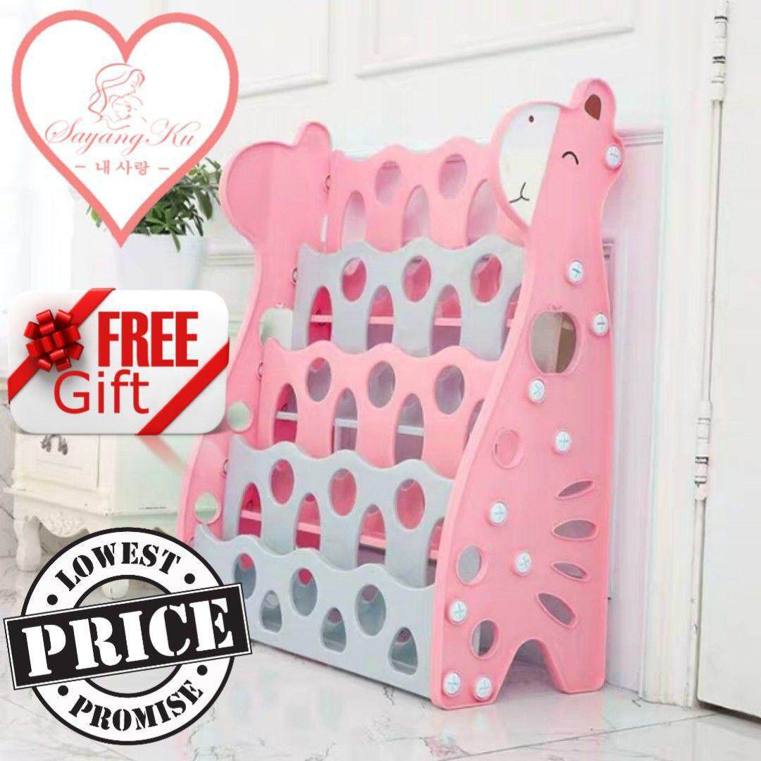 [msia] 4 Tier Children Cute Giraffe Plastic Bookshelf Children Kids Book Rack By Sayangku.