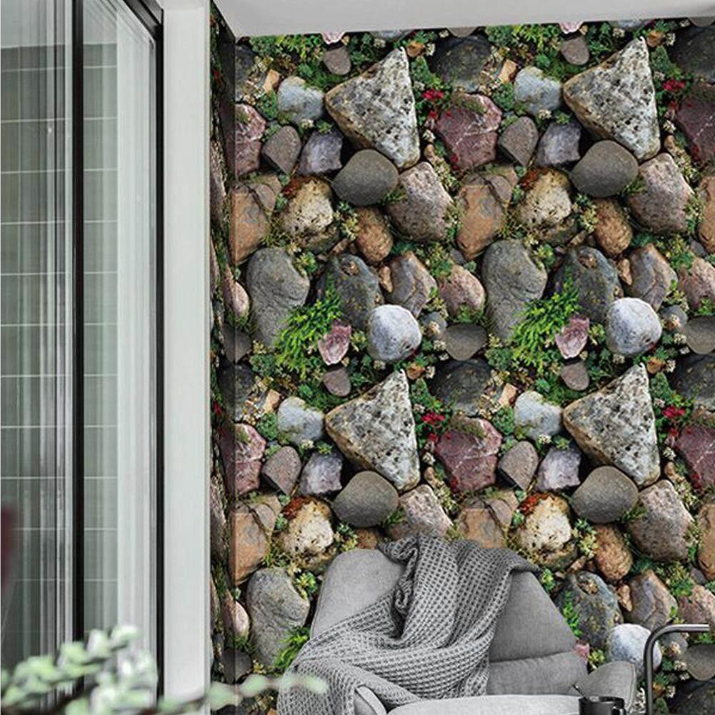 3D Batu Wallpaper Rumput TV Latar Belakang Stiker Ruang Tamu Dekorasi Kafe Stiker