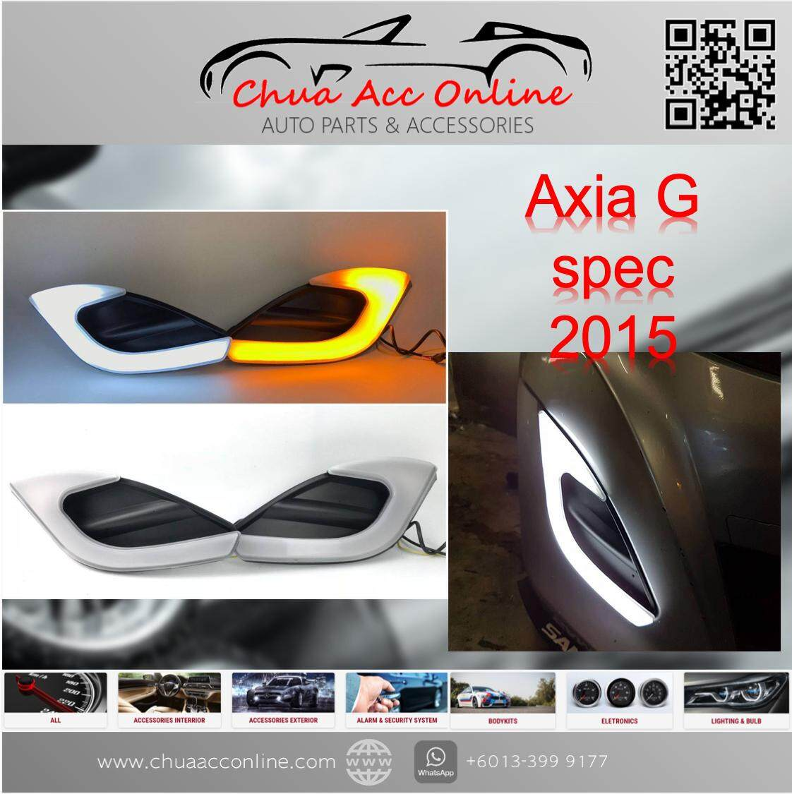 PERODUA AXIA G Spec 2 in 1 LED Light Bar Fog Lamp Cover + Day Time Running  Light DRL + Signal Light