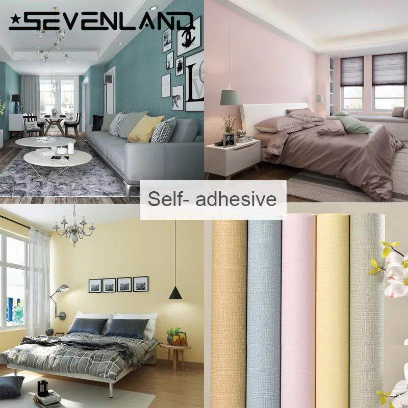 100x60cm Self adhesive PVC Waterproof Wallpaper Safty Home Decor Linen Stripes Wallcovering For Living Room Bedroom Background Wall Stickers