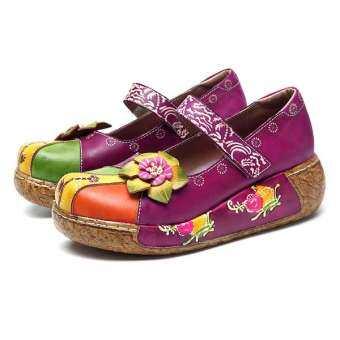 SOCOFY การพิมพ์ใหม่ Splicing ดอกไม้แฮนด์เมดรองเท้าหนังส้นแบน-