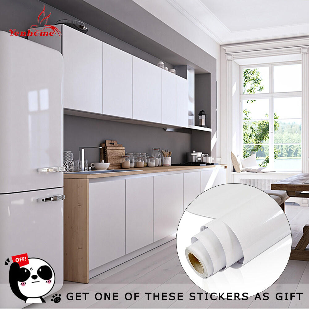 Yenhome High Glossy White Removable Self Ahesive Vinyl Contact Paper for Cabinets Shelf Liner for Kitchen Cabinet Peel and Stick Wallpaper Stick and Peel Door Table Wall Decals 40cm*1m