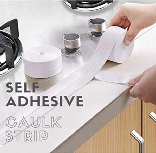 Caulk Strip, Tub Caulking Tape PVC Self-Adhesive Waterproof Sealing Tape for Kitchen Sink Toilet Bathroom Shower and Bathtub Floor Wall Edge Protector