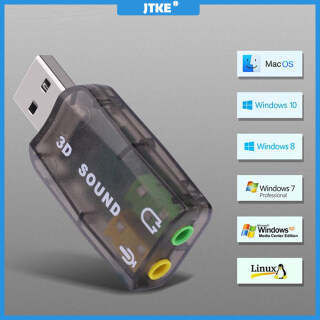 JTKE Bộ Chuyển Đổi Mic Thẻ Âm Thanh USB Ngoài 3D 5.1 Kênh, Tai Nghe Âm Thanh Nổi Giắc Cắm 3.5Mm Dành Cho Win XP 7 8 Android Linux Dành Cho Mac OS thumbnail
