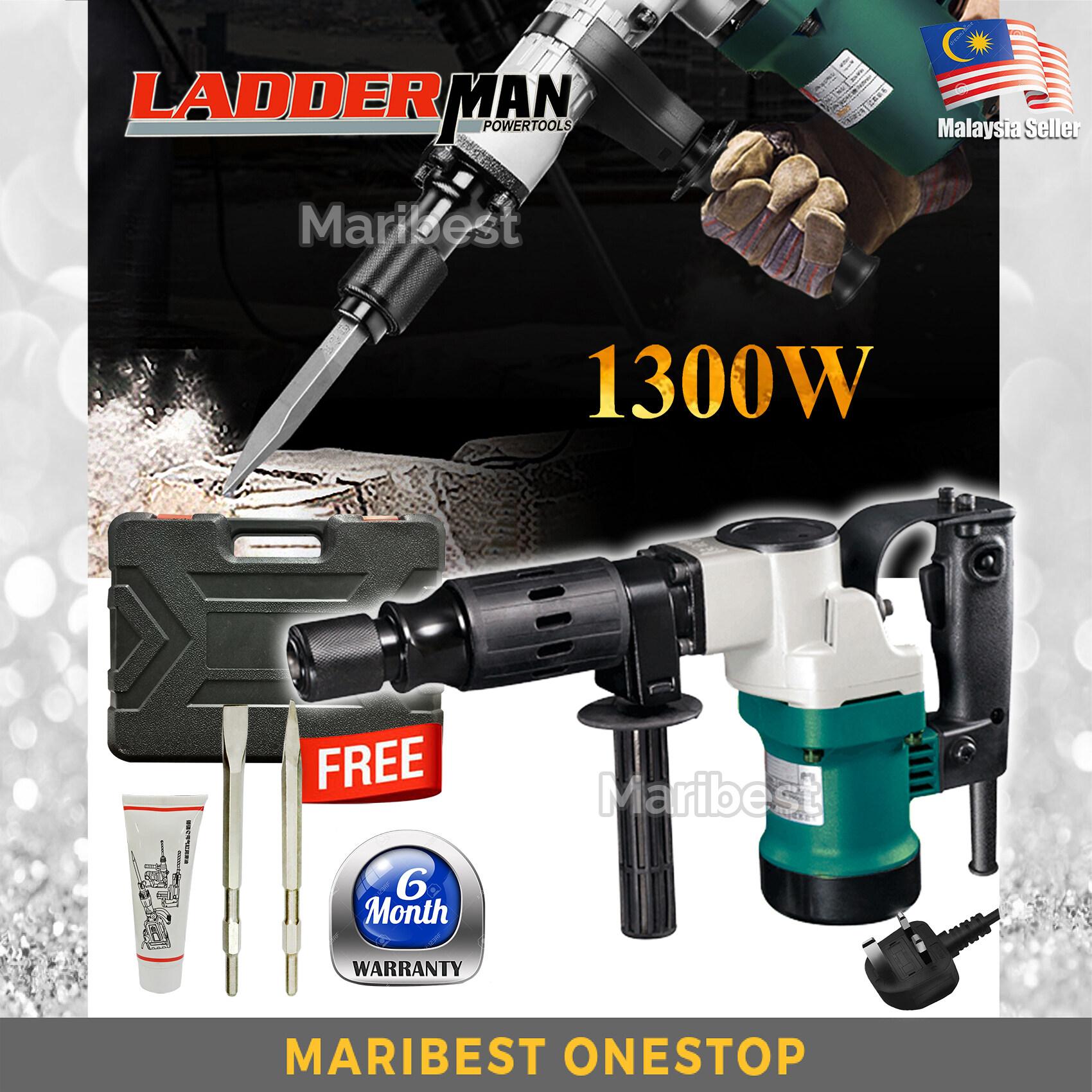 Ladderman 0810 1300W Demolition Hammer Electric Hammer Pick Break Concrete Chisel Free Accessories