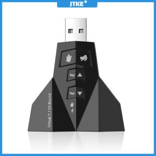 JTKE Bộ Chuyển Đổi Kép Âm Thanh USB Ngoài Ảo 7.1, USB Sang Giắc Cắm Tai Nghe 3.5Mm Micphone Dành Cho Máy Tính Xách Tay Win Mac thumbnail