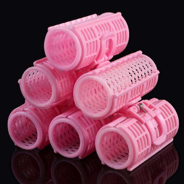 Bộ 06 lô uốn tóc xoăn gợn sóng hai lớp bằng nhựa, màu hồng nhạt, có kẹp lò xo giữ lọn tóc, phù hợp với tiệm làm tóc chuyên nghiệp hoặc tự làm tại nhà - INTL